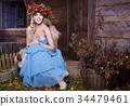蓝色 裙子 女性 34479461