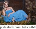 蓝色 裙子 女性 34479469