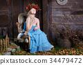 蓝色 裙子 女性 34479472