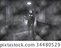 A man in a gas mask with a rifle  34480529