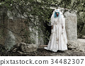 scary evil clown in a bride dress 34482307