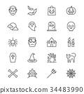 Halloween thin icons 34483990