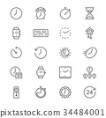 Time and clock thin icons 34484001