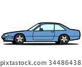 イタリアン4シータークーペ ブルー 自動車イラスト 34486438