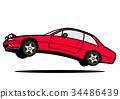 意大利人4座位小轎車跳紅色汽車例證 34486439
