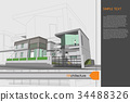 sketch design of home on drawing table,vector 34488326
