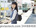 高中女生 火车 电气列车 34488468