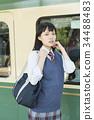 高中女生 火车 电气列车 34488483