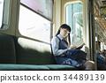 高中女生 火车 电气列车 34489139