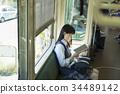 高中女生 火车 电气列车 34489142