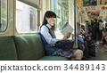 高中女生 火车 电气列车 34489143