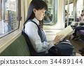 高中女生 火车 电气列车 34489144