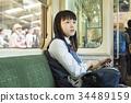高中女生 火车 电气列车 34489159
