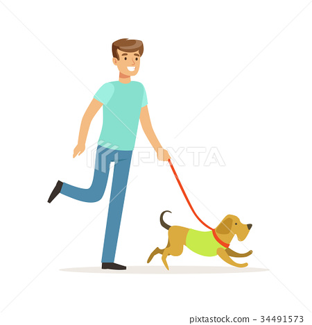 Young smiling man walking a dog vector 34491573