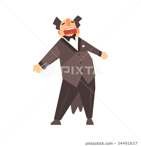 Male opera singer character cartoon vector 34491637