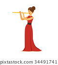 Elegantly dressed female musician playing flute 34491741