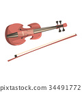 Wooden violin with fiddlestick, musical instrument 34491772
