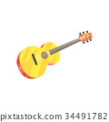 Wooden classic guitar, musical instrument cartoon 34491782