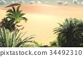 Awesome view on Sahara desert at sundown 3d 34492310