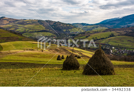 haystacks on grassy meadow in autumn mountains 34492338