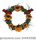 wreath,frame,sunflower 34493098