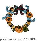 wreath,frame,sunflower 34493099