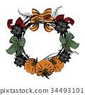 wreath,frame,vector 34493101