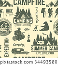 Summer camp seamless pattern or background. 34493580