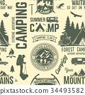 Summer camp seamless pattern or background. 34493582
