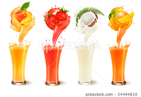 Set of fruit juice splash in a glass.  34494810