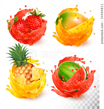 Set of fruit juice splash.  34494811