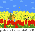 가족, 곤충, 꽃 34496999