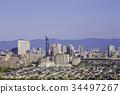 無雲的藍天和福岡美麗的城市 34497267