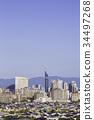 無雲的藍天和福岡美麗的城市 34497268