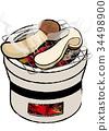 火盆 烤製 松茸蘑菇 34498900