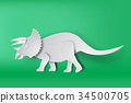 paper art of Triceratops dinosour 34500705