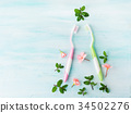 Dental hygiene concept. Toothbrushes, flowers mint 34502276