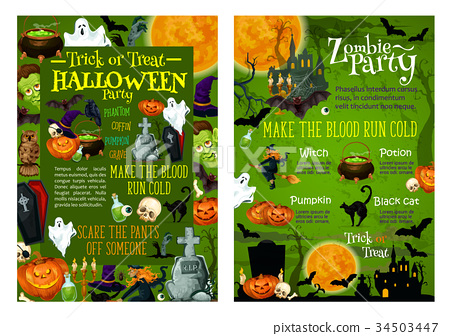 Halloween party invitation vector posters stock illustration halloween party invitation vector posters stopboris Choice Image