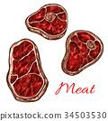 肉 牛排 草圖 34503530
