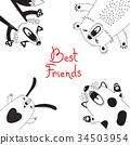 Card with Best Friends Bear Fox Dog Rabbit. 34503954