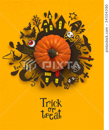 Trick or Treat silhouettes around Pumpkin 34504390