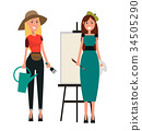 Set of Two Women. Gardener and Painter Flat Design 34505290