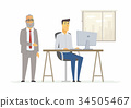 Hard day in the office - modern cartoon people 34505467
