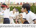 跑在運動會的小學學生 34507332
