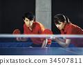 乒乓球 男人和女人 男女 34507811
