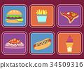 Fast Food Icons Illustration 34509316