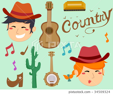 Country Music Elements Illustration 34509324