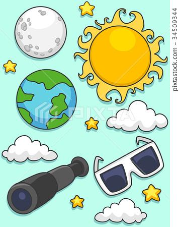 Solar Lunar Eclipse Elements Illustration 34509344