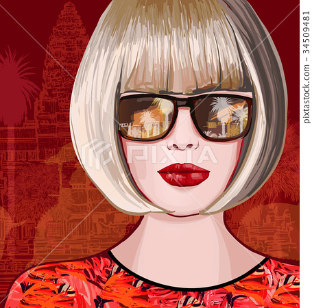 Beautiful woman traveling in Asia 34509481
