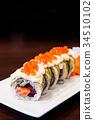 Salmon and Tuna maki roll sushi 34510102